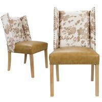 Sole Designs Rexford Wingback Leather Upholstery w/ Nailhead Trim Tapered Legs Dining Chairs, Set Of 2, Beige/Washed Natural