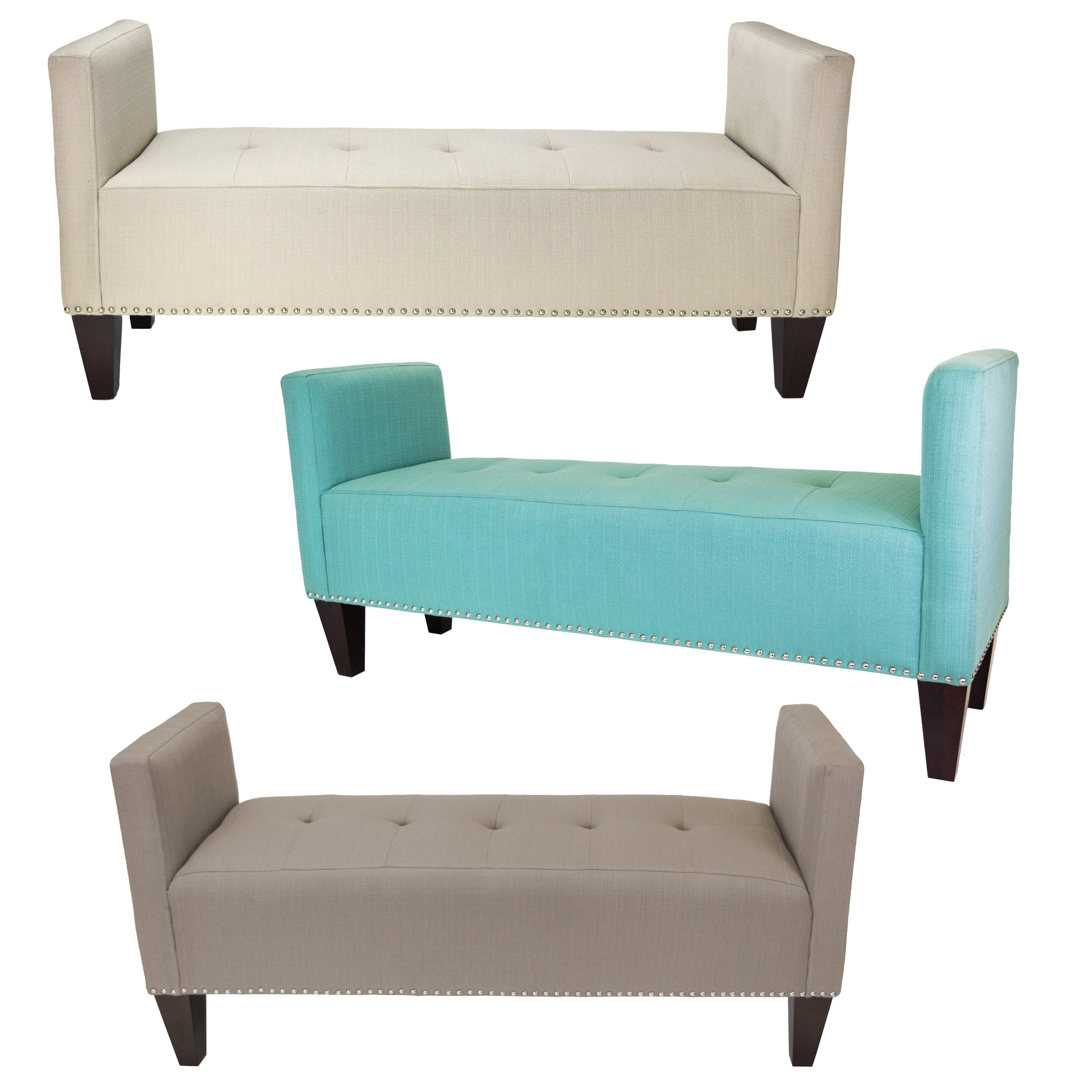 Nellie SACHI Upholstery Button Tufted & Nail Trim 2 Arms Bedroom Bench
