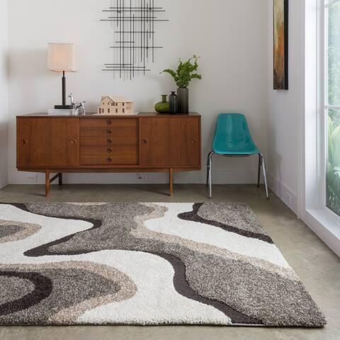 "Carson Carrington Heim Mid-Century Modern Abstract Wave Shag Rug - 7'7"" x 7'7"" Square"