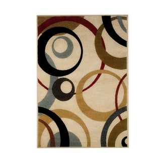 Palm Canyon Wildwood Ivory Geometric Cirlces Area Rug - 5' x 7'3