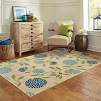 Palm Canyon Baristo Floral Ivory/Green Indoor/ Outdoor Area Rug - 5'3 x 7'6