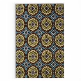 "Carson Carrington Enkoping Floral Blue/Brown Indoor/ Outdoor Area Rug - 3'7"" x 5'6"""