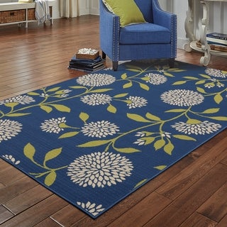 "Palm Canyon Cielo Floral Blue/Green Indoor/ Outdoor Area Rug - 3'10"" x 5'6"""