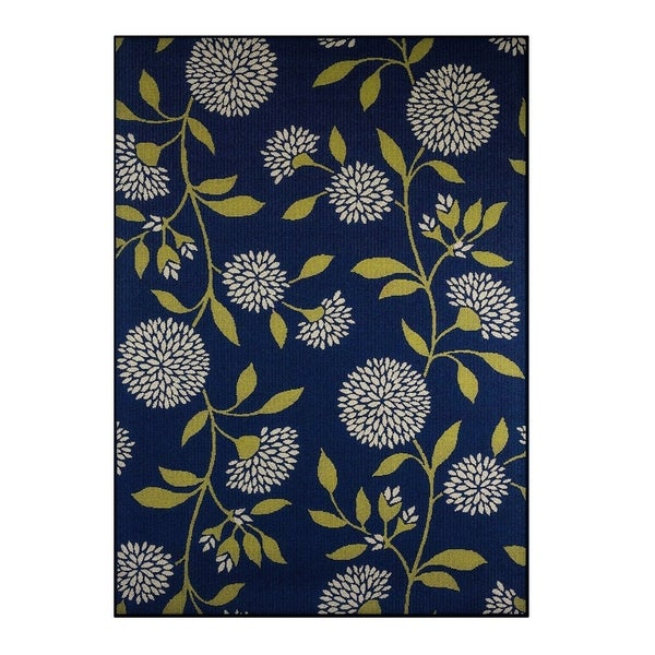 """Palm Canyon Cielo Floral Blue/Green Indoor/ Outdoor Area Rug (7'10 x 10'10) - 7'10"""" x 10'"""