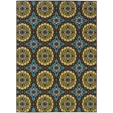 "Carson Carrington Enkoping Floral Blue/Brown Indoor/ Outdoor Area Rug - 8'6"" x 13'"