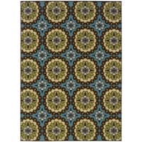 Palm Canyon Alameda Floral Blue/Brown Indoor/ Outdoor Area Rug (8'6 x 13') - 8'6 x 13'