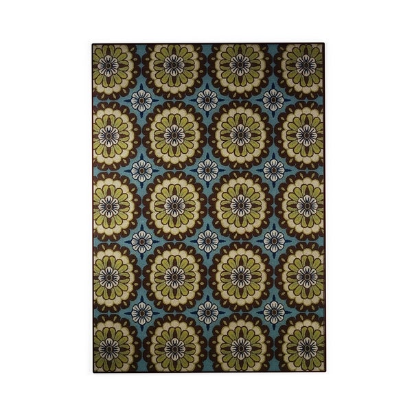 Palm Canyon Alameda Floral Blue/Brown Indoor/ Outdoor Area Rug - 8'6 x 13'