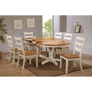 "Iconic Furniture Company 42""x66""x78""x90"" Oval Antiqued Caramel Biscotti Transitional Back 7-Piece Dining Set"