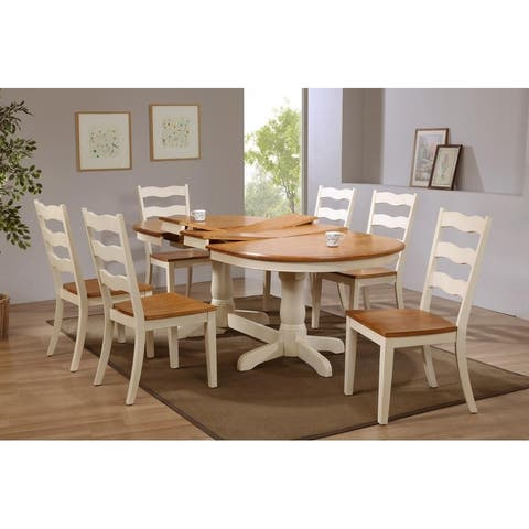 """Iconic Furniture Company 42""""x66""""x78""""x90"""" Oval Antiqued Caramel Biscotti Transitional Back 7-Piece Dining Set"""