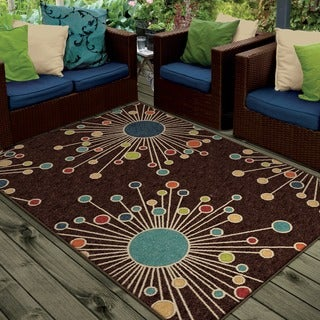 Carolina Weavers Indoor/Outdoor Santa Barbara Collection Firework Brown Area Rug (7'8 x 10'10)