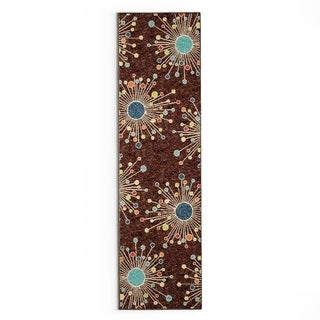 Palm Canyon Oasis Indoor/ Outdoor Firework Brown Area Rug (2'3 x 8')