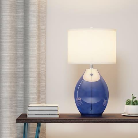 Carson Carrington Ostermyra 1-light Dark Blue Glass Table Lamp
