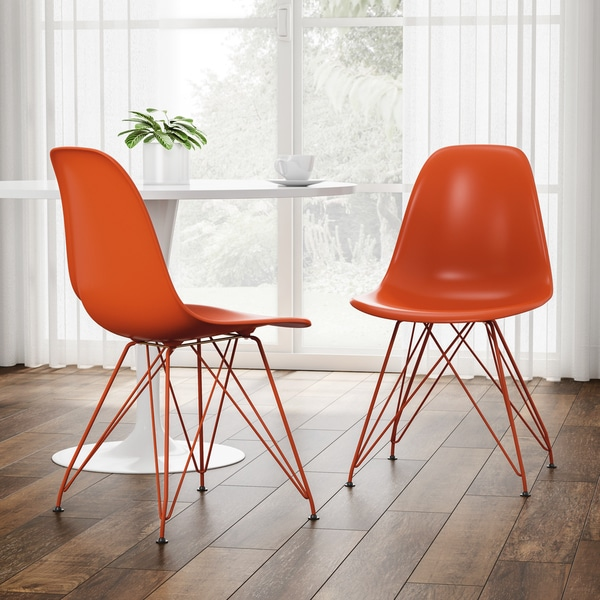 Carson Carrington Byskogen Molded Orange Chair with Colored Legs (Set of 2)