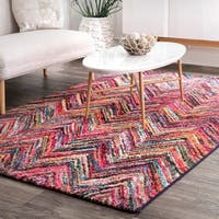 The Curated Nomad Tramview Rainbow Bench Chevron Area Rug