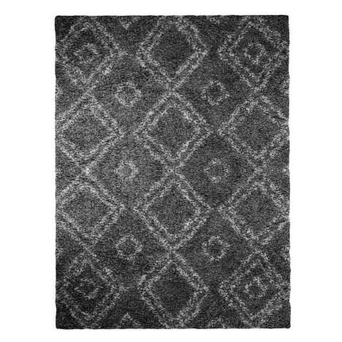 Palm Canyon Elena Moroccan Diamond Grey Easy Shag Rug (10'6 x 14')