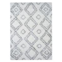 Palm Canyon Marco Moroccan Diamond White Easy Shag Rug - 6' 7 x 9'