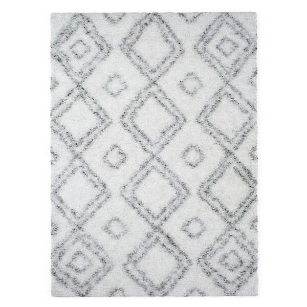 Shop Palm Canyon Marco Moroccan Diamond White Easy Shag Rug (6\'7 x 9 ...