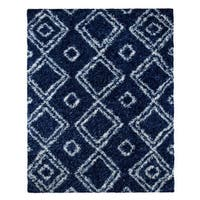 Palm Canyon Livorno Moroccan Diamond Blue Easy Shag Rug (8' x 10')