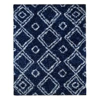 Palm Canyon Livorno Moroccan Diamond Blue Easy Shag Rug  - 8' x 10'