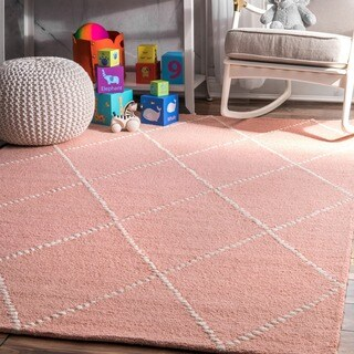 The Gray Barn Big Ben Handmade Wool Trellis Baby Pink Area Rug - 5' x 8'
