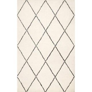 Taylor & Olive Tuscaloosa Handmade Wool Trellis Area Rug (Ivory - 5 x 8)