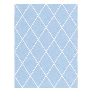 Taylor & Olive Tuscaloosa Handmade Wool Trellis Area Rug (Baby Blue - 86 x 116)