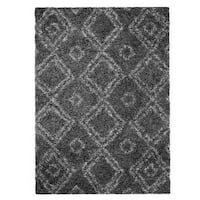 Palm Canyon Elena Moroccan Diamond Grey Easy Shag Rug (6'7 x 9') - 6'7 x 9'