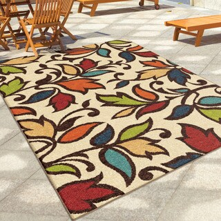 Palm Canyon Flor Indoor/Outdoor Ivory Area Rug - 6'5 x 9'8