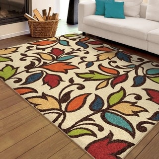 Palm Canyon Flor Indoor/ Outdoor Ivory Area Rug - 5'2 x 7'6