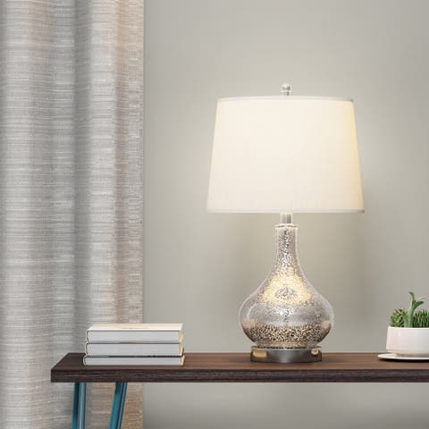 Carson Carrington Skodstrup Brushed-Glass 3-way Table Lamp