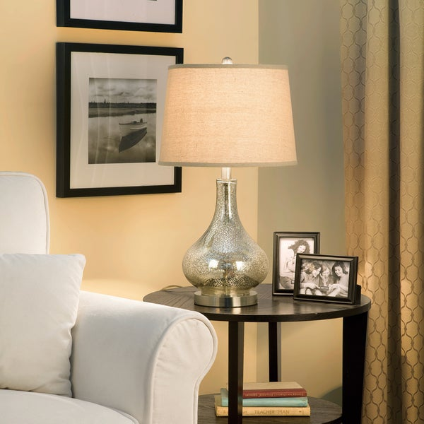 Palm Canyon Estaban Brushed-glass 24-inch 3-way Mercury Gourd Table Lamp with Beige Linen Drum Shade and Bulb