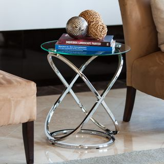 Danya B Galaxy Chrome and Tempered Glass Round End Table