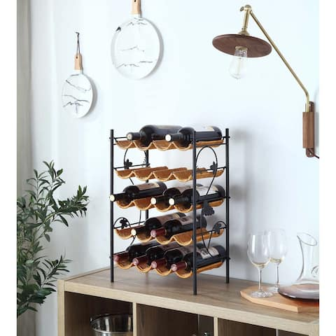 Copper Grove Fulton Black/Brown Metal Wicker Wine Rack