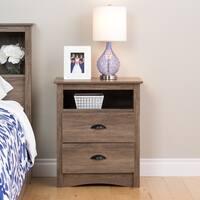 Porch & Den Church Driftwood Grey Wood/ Laminate Tall 2-drawer Nightstand
