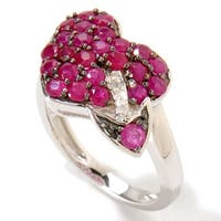 Platinum o/ Silver 1.67ctw Ruby Diamond Heart & Arrow Ring, Size 7 - Red