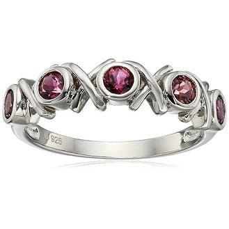 Rhodium Over Sterling Silver Pink Tourmaline Ring