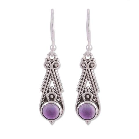 Handmade Sterling Silver 'Regal Peaks' Amethyst Earrings (India)