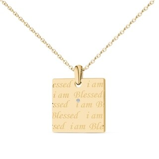 De Couer 'I Am Blessed' Square Pendant In Silver (H-I, I2)