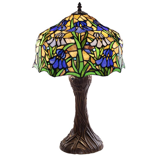 Warehouse of Tiffany Tiffany-style Iris Table Lamp, Green...