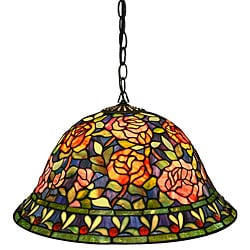 Tiffany-style Southern Belle Rose Hanging Lamp - Thumbnail 0