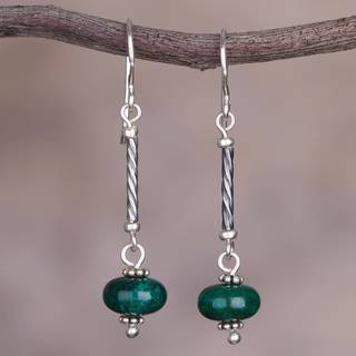 Handmade Sterling Silver 'Meadow Goddess' Chrysocolla Earrings (Peru)