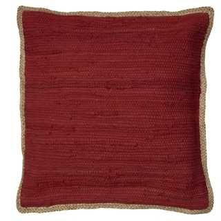 LR Home Crimson Passion Chindi/Jute Throw Pillow 20 inch