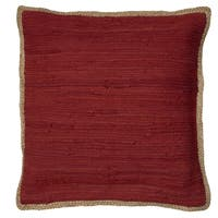"LR Home Riley Red 20"" x 20"" Chindi/Jute Throw Pillow"