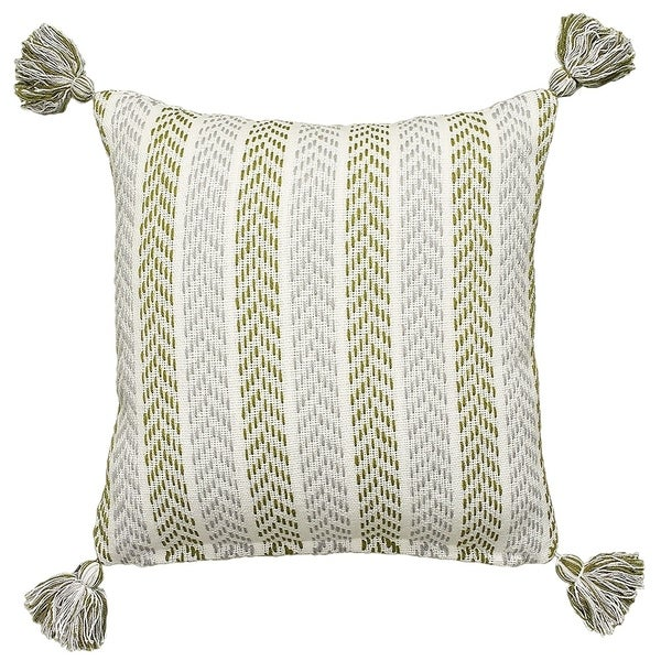 LR Home Split Pea Cotton Throw Pillow 18 inch