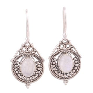 Handmade Sterling Silver 'Majestic Circles' Rainbow Moonstone Earrings (India)