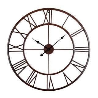 Roman Round Wall Clock, Distressed Finish, Bronze or White