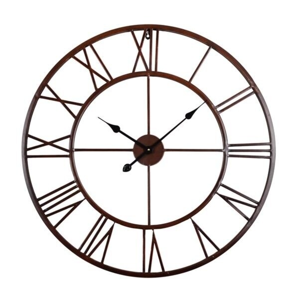 Roman Round Wall Clock, Distressed Finish, Bronze or White