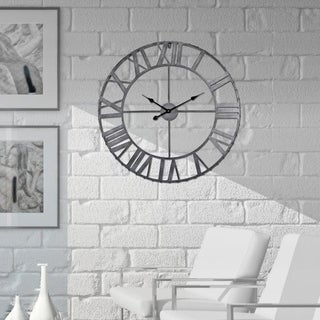 Rivet Edge Roman Industrial Wall Clock, Pewter, 32 in.