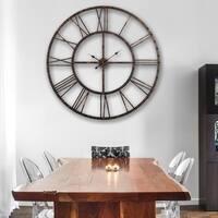 Rivet Roman Industrial Oversized Wall Clock, Antique Bronze, 45 in.