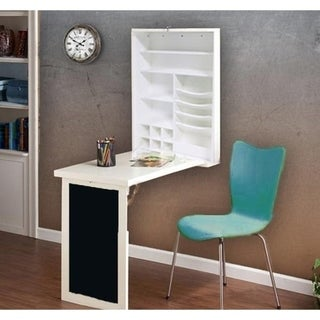 Utopia Alley Fold Down Desk Table Wall Cabinet With Chalkboard, Brown